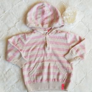 H & M pink striped hoodie sweater